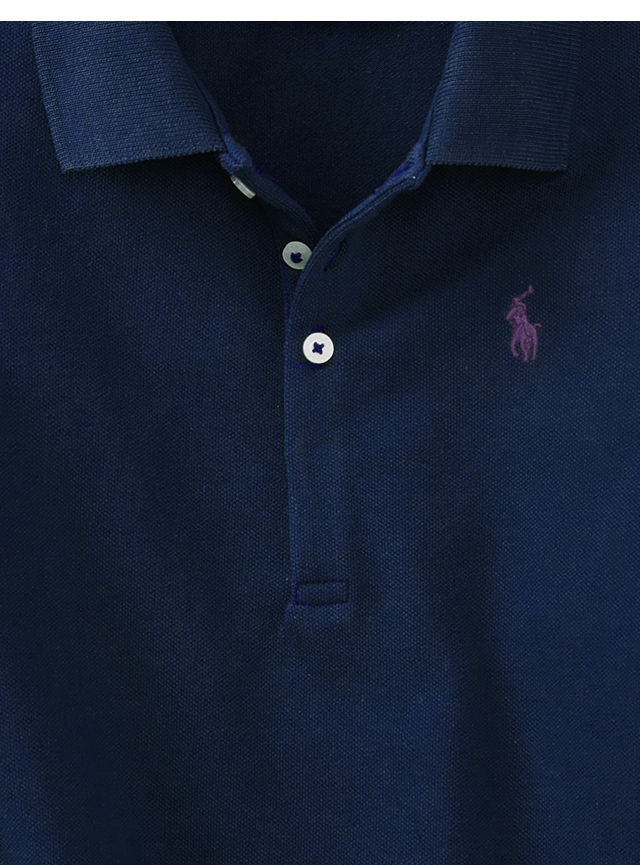 Close-up of burgundy Polo shirt with blue signature embroidered pony