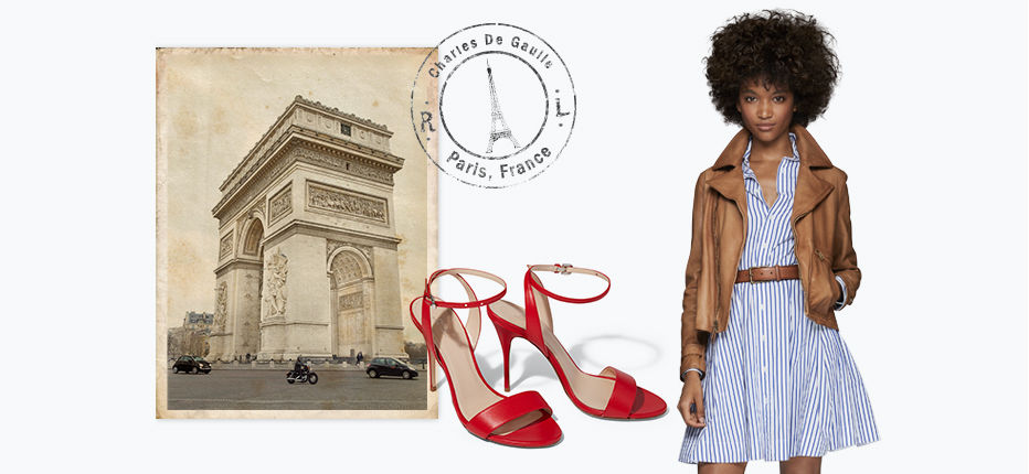 Sepia-toned image of Arc de Triomphe & woman in belted shirtdress