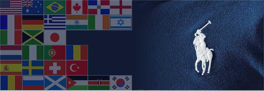 Left: Array of flags from different nations. Right: White signature embroidered pony