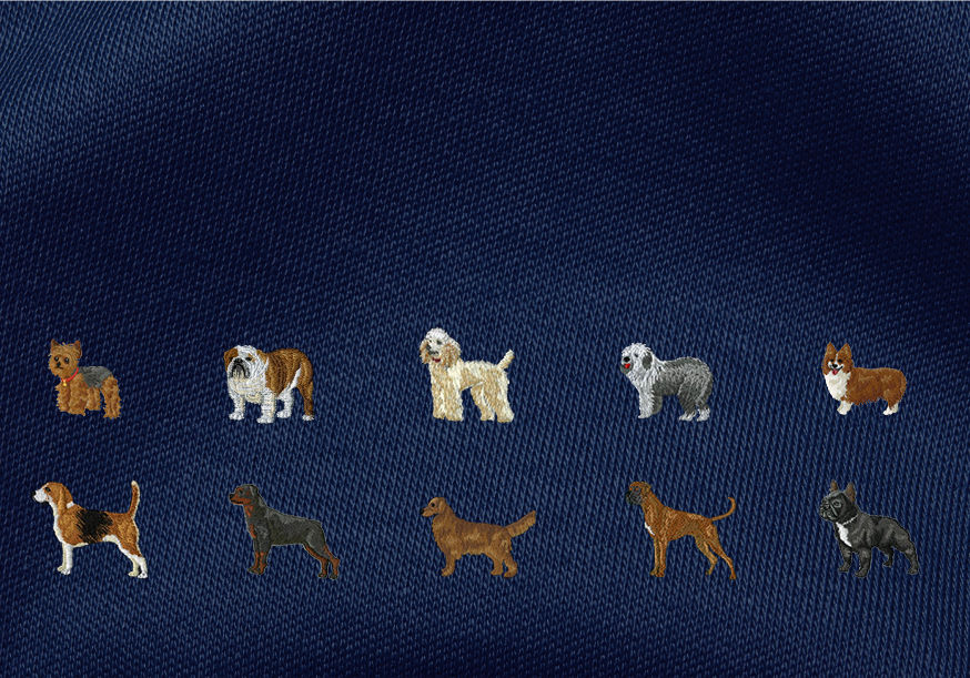 Realistically embroidered dogs in 10 different breeds