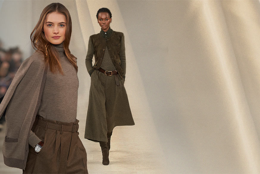 Woman in taupe cashmere turtleneck and pleated pant and woman in olive green suede jacket and culottes walk runway