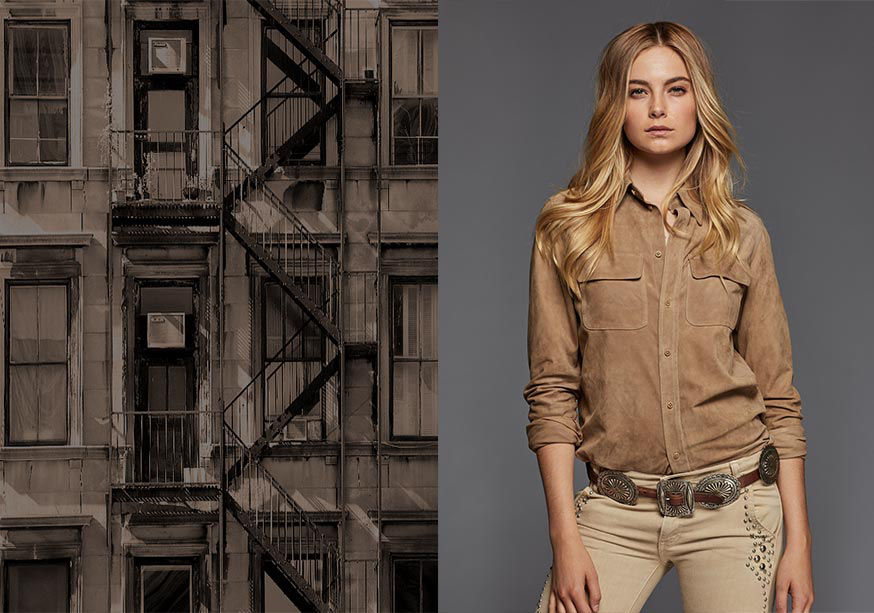 Image of New York fire escape; image of woman modeling tan suede shirt, concho belt & studded skinny jean
