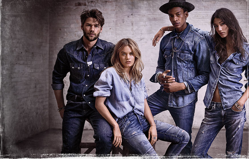Men & women wear chambray shirts & distressed jeans