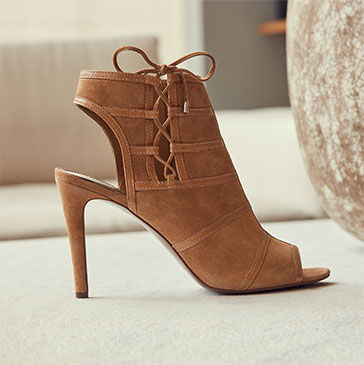 Suede peep-toe sandal with stiletto heel & bootie silhouette