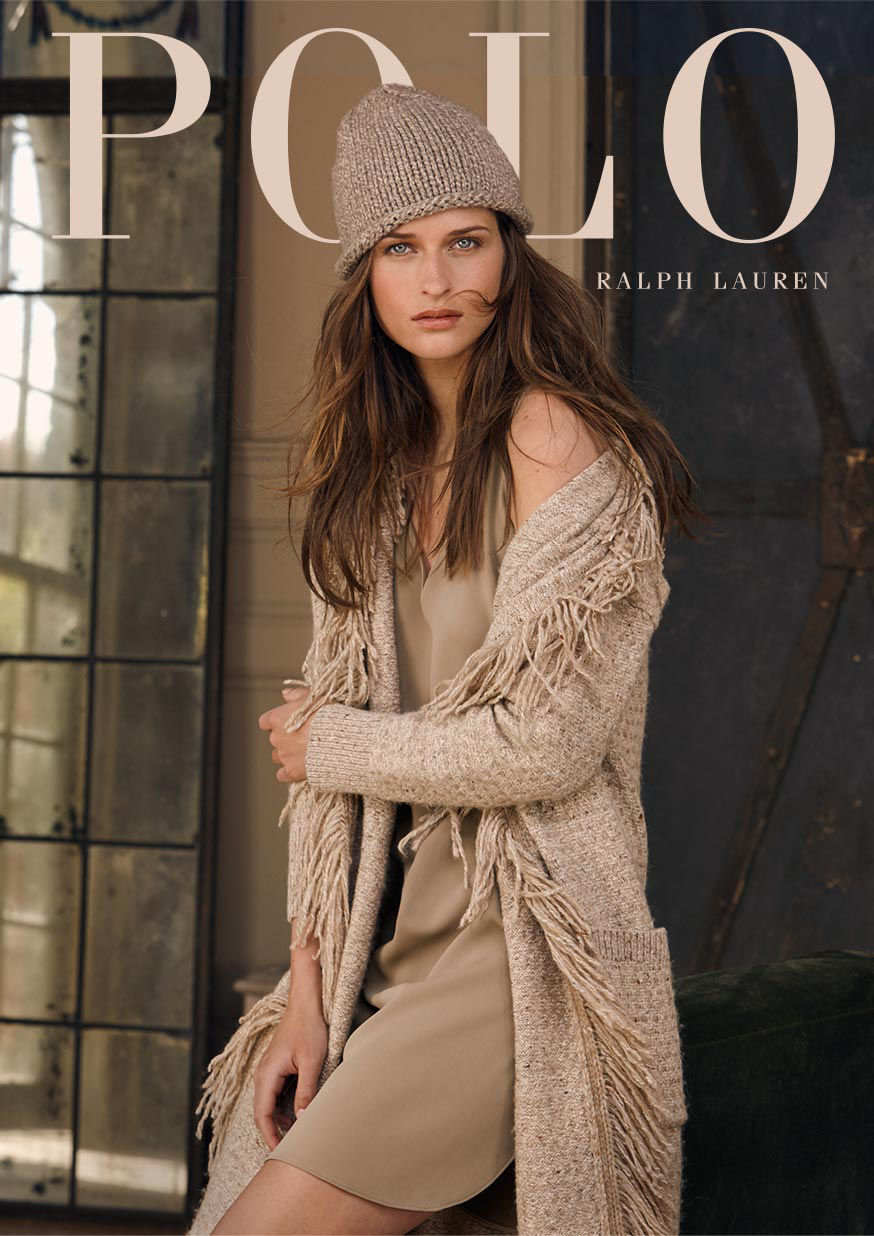 Woman models knit cap, fringed sweater coat & sleeveless dress, each in shades of taupe