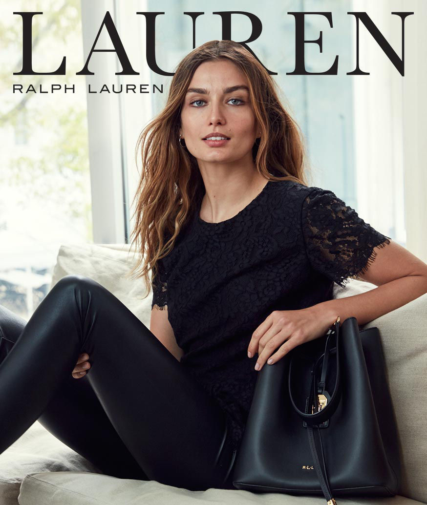 Lauren Ralph Lauren Logo, Woman in black lace top & black pant sits with leather tote