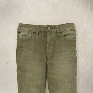Green jean with fading