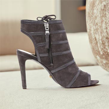 Charcoal sandal with caged bootie silhouette & stiletto heel