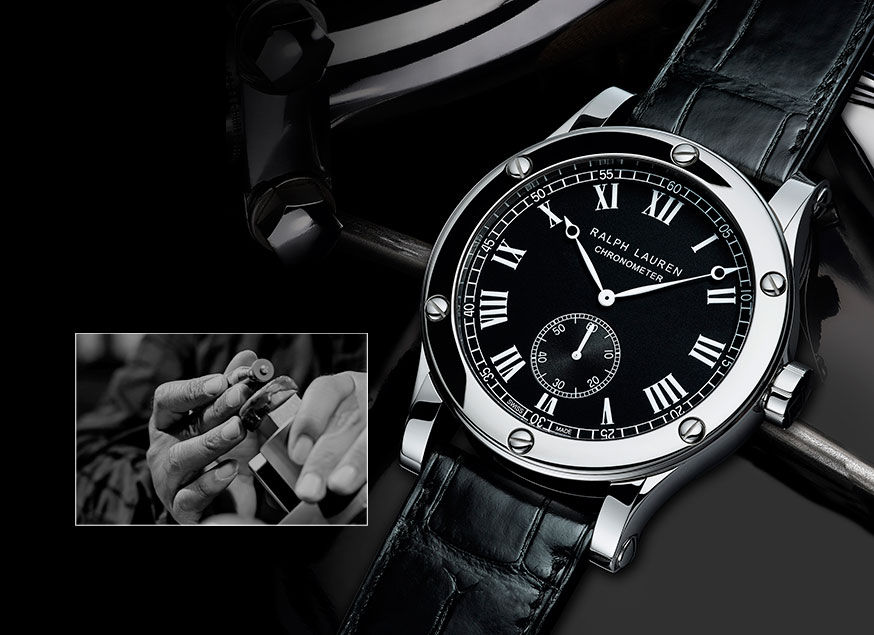 Stainless steel chronometer with black dial
