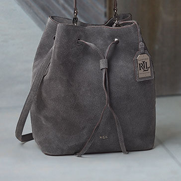 Grey suede drawstring bag