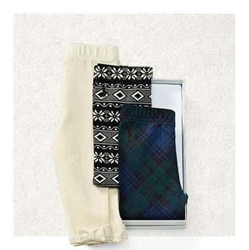 Set of three leggings in cream, Fair Isle \u0026amp; plaid