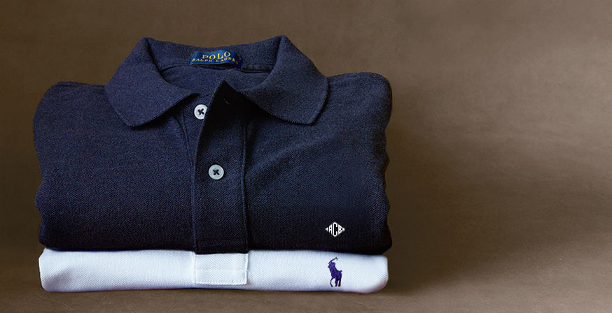 Navy Polo shirt with monogram & white Polo shirt with embroidered pony