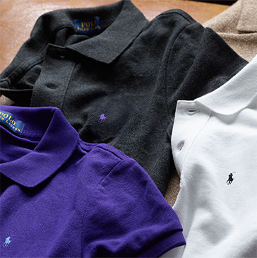 Polo shirts in charcoal, purple & white