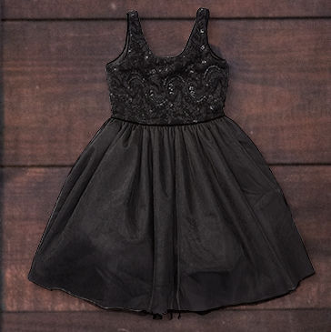 Black sleeveless fit-and-flare dress with sequined bodice