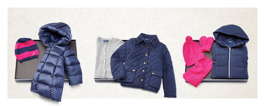 Sets: puffer coat with hat; cardigan with jacket, & coat with knit accessories