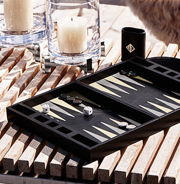 Leather-covered backgammon set