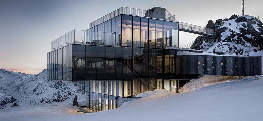 Exterior of the Ice Q restaurant in Austria