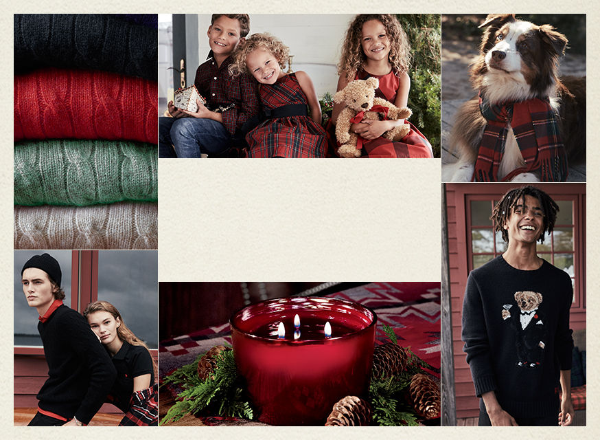 Collage of sweaters, dresses, shirts, a scarf & a candle in a festive red & black palette.