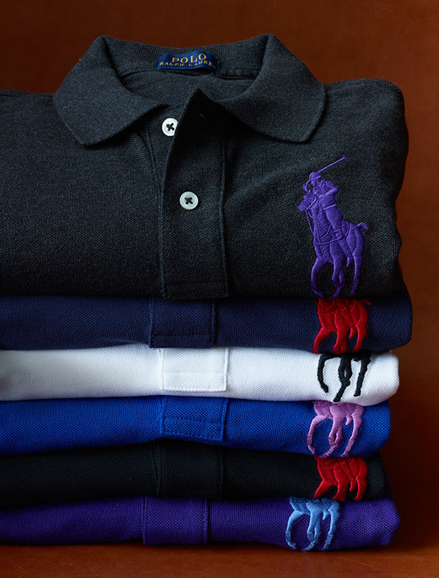 Big Pony Polo shirts in charcoal, blue, white