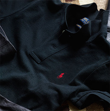 Black Polo shirt with red signature embroidered pony