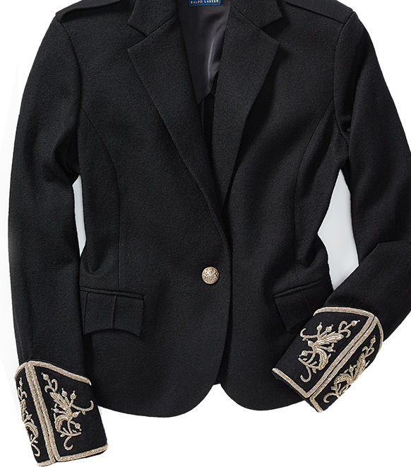 Black single-button blazer with elaborate embroidery at the cuffs