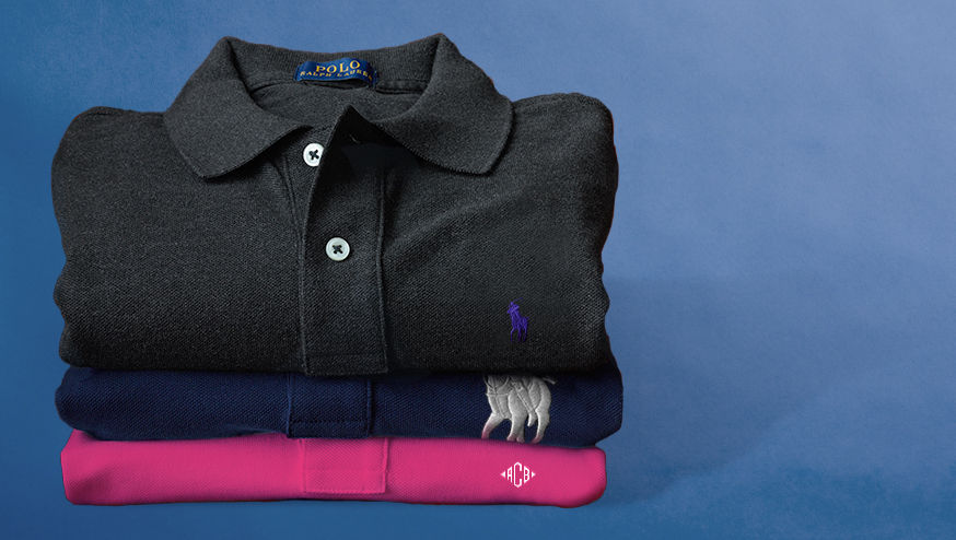 Polo shirts in black, blue & pink with personalized embroidery