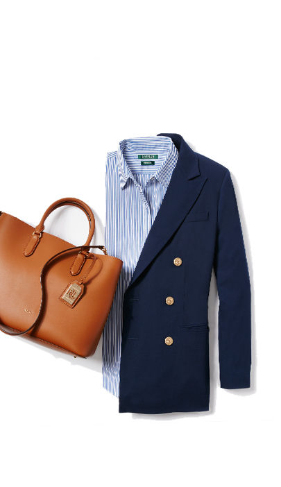 Navy blazer, striped shirt, tan leather handbag