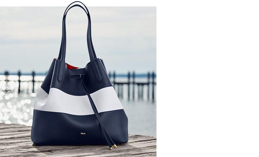 Navy & white striped drawstring tote