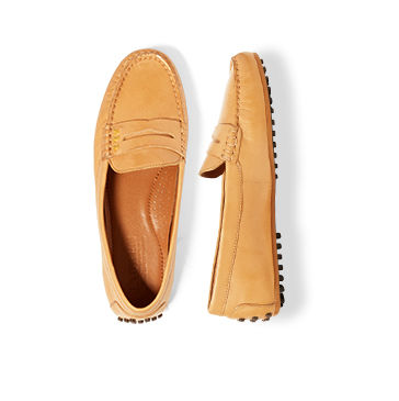 Camel leather loafers