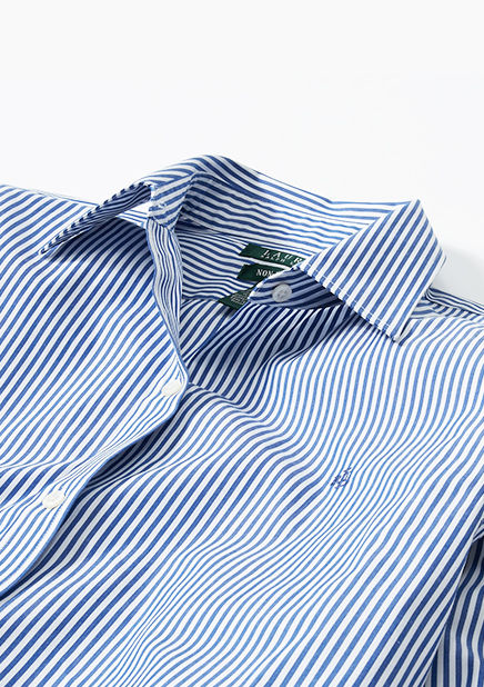Close-up image of blue and white striped shirt