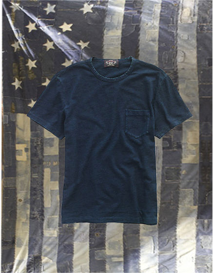 Indigo tee against American flag background