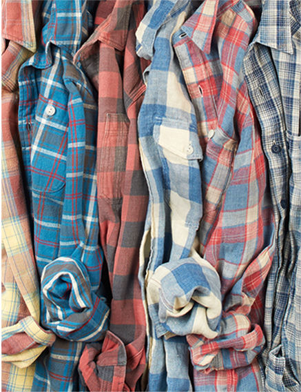Row of plaid button-down shirts