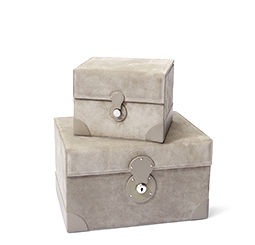Stacked large & small grey suede jewelry boxes
