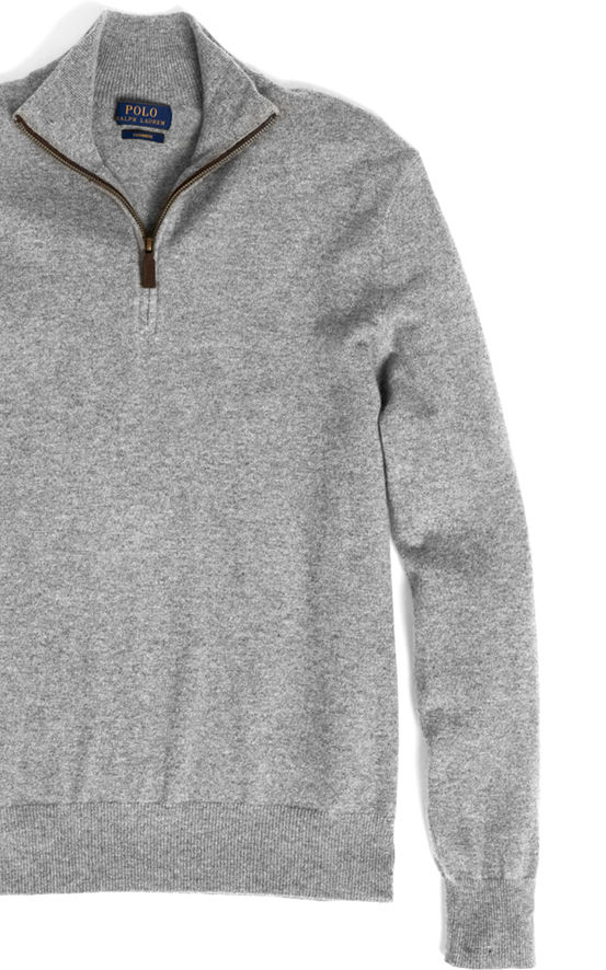 Grey half-zip sweater with leather trim at the placket