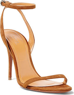 Strappy brown leather heel