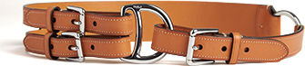 Double-strap tan leather belt