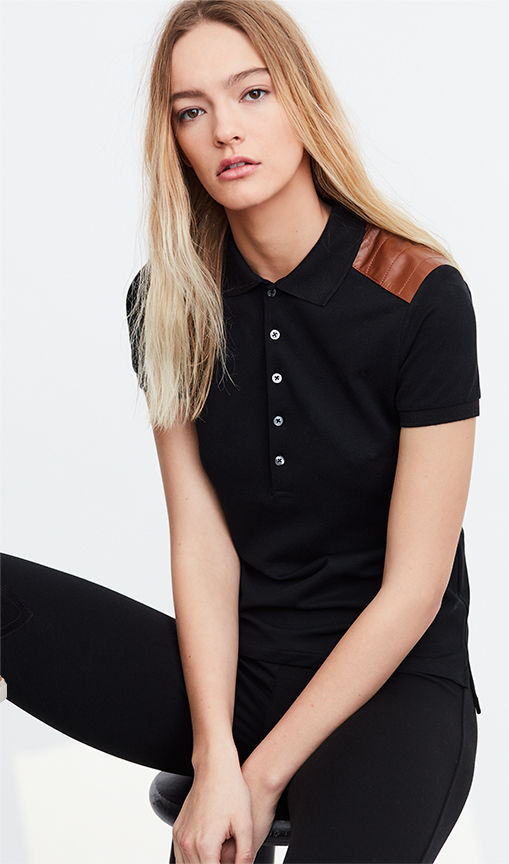 Skinny black Polo shirt with tan leather patches at shoulders