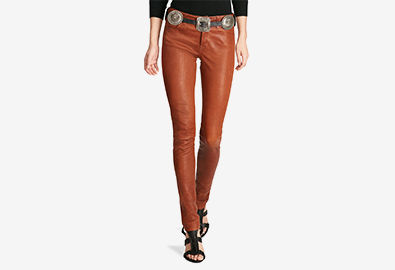 Caramel-hued stretch leather pants