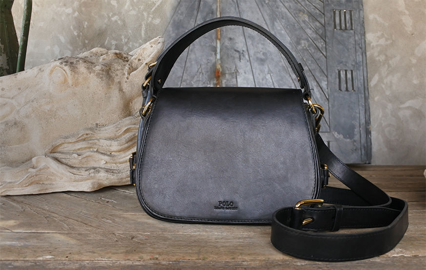 Burnished black leather handbag with top handle & removable crossbody strap