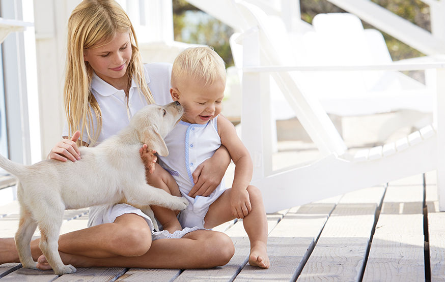 Girl, baby in onesie, and puppy sit on a deck.