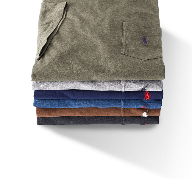 Stack of folded pocket tees accented with embroidered Polo Pony