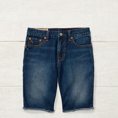Pair of cutoff denim shorts.