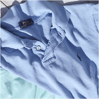 Close-up of light-blue Polo shirt