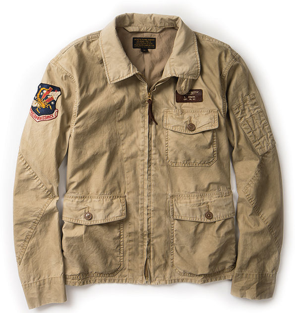 Khaki flight jacket with military details