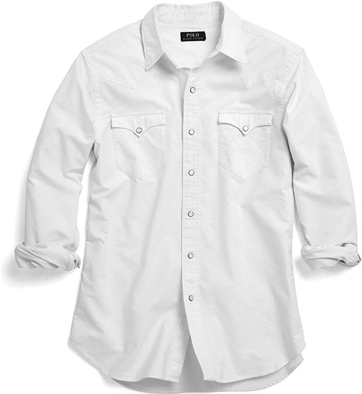 White button-down shirt with Western details