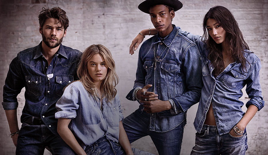 Two men & two women model all-denim looks