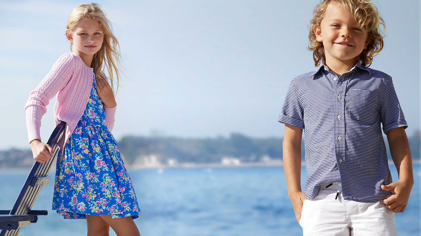 Girl in floral-print dress & boy in navy gingham shirt