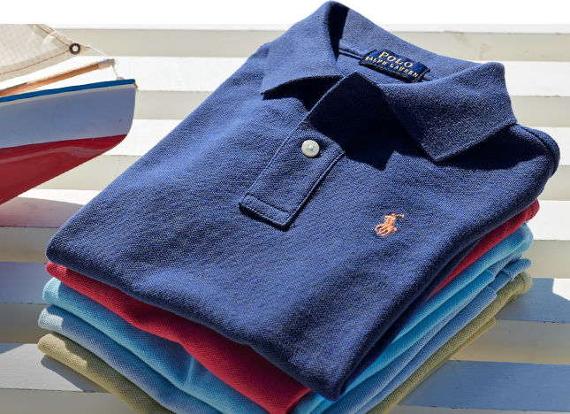 Stack of folded kids' Polo shirts