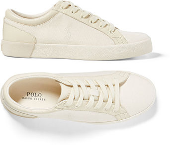 Pair of cream-colored low-top sneakers