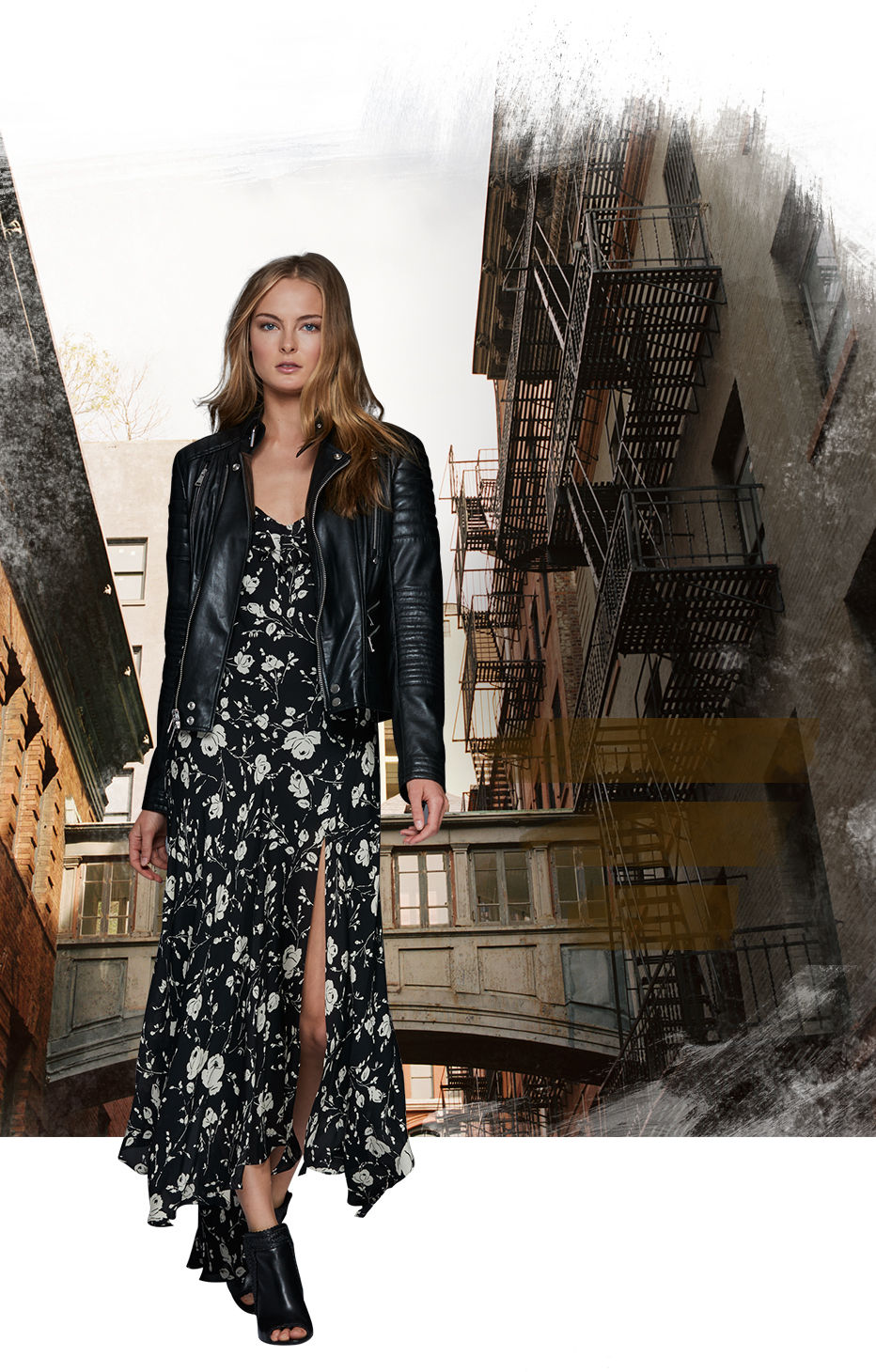 Model in leather jacket & floral maxidress with slit at  front left